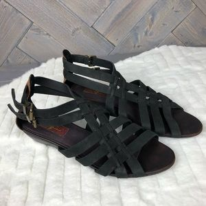 7 For All Mankind Black Leather Strap Sandals S8